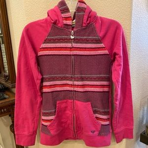 ROXY Girls Pink Hoodie Zip Up Jacket Size XL